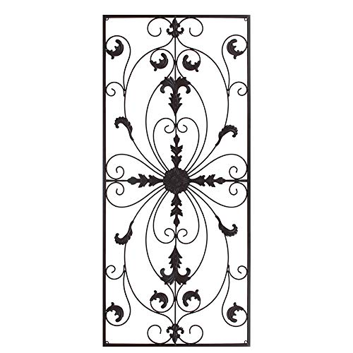 GB HOME COLLECTION gbHome GH-6778BRN Metal Wall Decor, Decorative Victorian Style Hanging Art, Steel Decor, Rectangular Design, 19.7 x 44 Inches, Espresso (Wall Sculpture Home Garden)