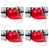 Beer & Soda Guzzler Helmet - Drinking Hat - 4 Pack By EZ Drinker (Red)