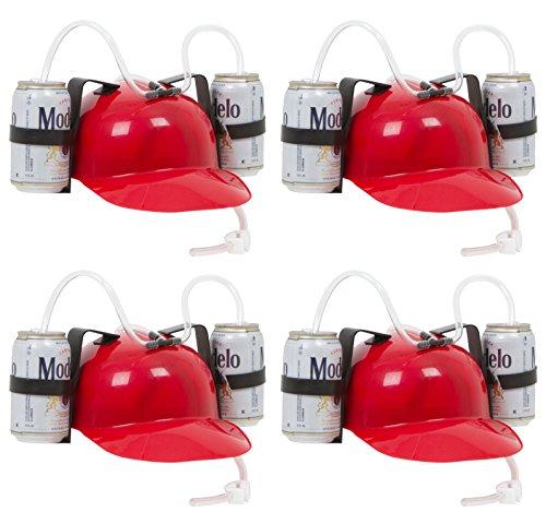 EZ Drinker Beer & Soda Guzzler Helmet - Red Drinking Hat - 4 Pack, Red