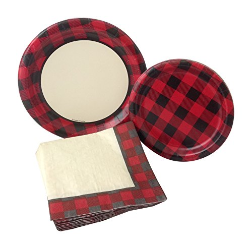 Red Plaid Country Party Bundle with Paper Plates and Napkins for 8 Guests