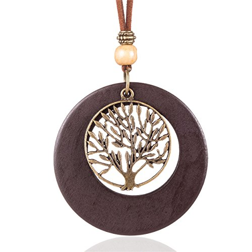 Coostuff Life of Tree Pendant Handmade Wood Necklaces Black Brown Green red Vintage Long Necklace for Women Jewelry