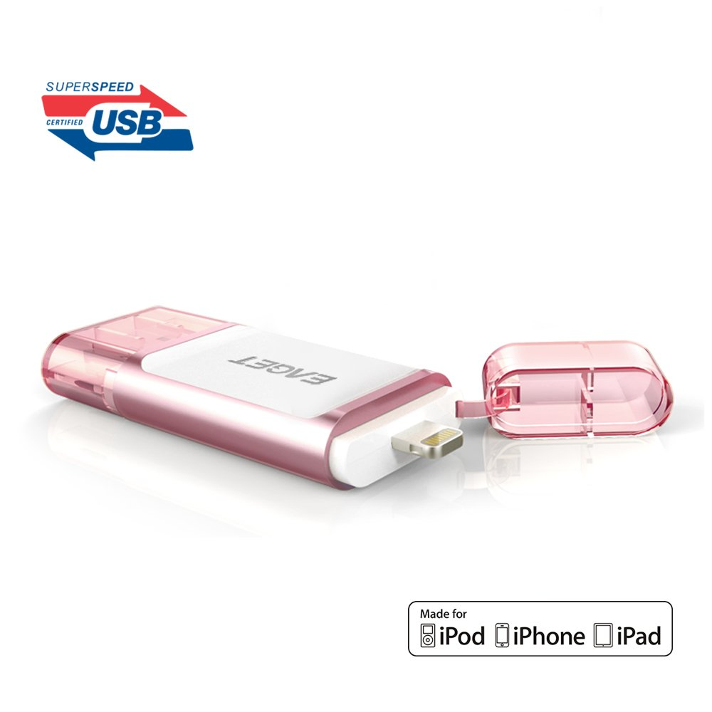 EAGET iPhone iPad Flash Drive 32GB Lightning Connector USB 3.0 Memory Stick External Storage Memory Expansion Apple MFi Certified I60
