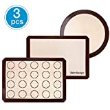 Silicone Baking Mats Set of 3, Non-stick Silicon Liner for Bake Pans & Rolling, Reusable Heat Resistant Cookie Half Sheet for Bread/Pizza/Macaroon, Round and Rectangle