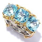 Michael Valitutti Palladium Silver Swiss Blue Topaz Three-Stone East-West Ring