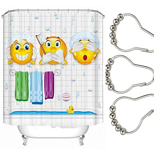 Pahdecor Washable Polyester Unique Cute Funny Sun Emoji Shower Bathroom Curtain for Kids Gift with 12 Stainless Steel Hooks,71x94