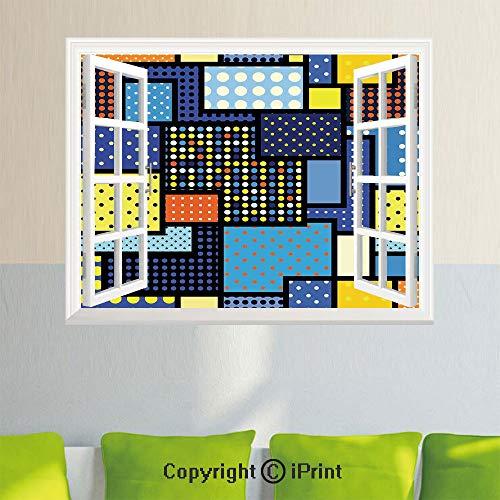 Wall Decor Stickers,Oriental Moroccan Motifs in Ethnic Retro Colors Eastern Arabesque Boho Decor,35.4X 23.6inch,Creative Window View Home DecorMulti ()