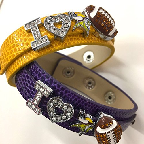Two x I love Minnisota Vikings Rhinestone football Bracelet/vikings fans/ NFL football Leather Nfl Bracelets