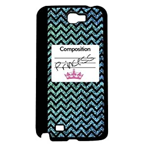 Blue Princess Glitter Chevron Composition Notebook with Pink Crown Hard Snap on Phone Case (Note 2 II)