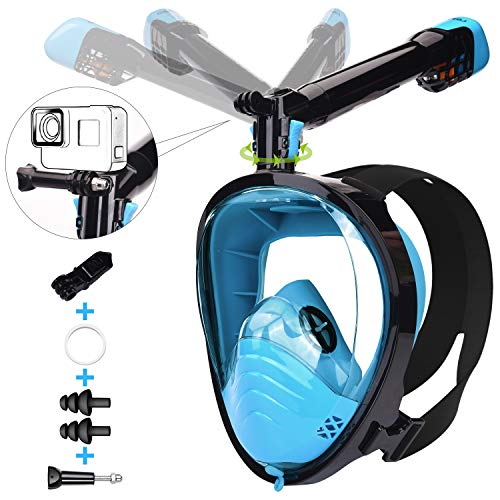 Lemego Mascara De Buceo Adulto Mascara Snorkel 180 Panoramica Con Snorkel Giratorio 360 Anti Niebla Y Anti Fugas Easybreath Completa Mascara Apoyo Camara Deportiva