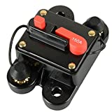 Asdomo 12V-24V DC Circuit Breaker Trolling Motor Auto Car Marine Boat Bike Stereo Audio Inline Fuse Inverter Waterproof with Manual Reset 150A 150 Amp