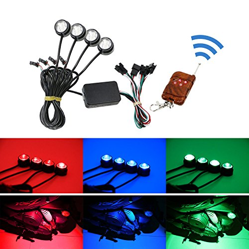 Ground Effect Lights (iJDMTOY 4pcs Multi-Color RGB LED Eagle Eye Light Kit w/ Remote Control For Motorcycle or Bike Ground Effect Underbody Lighting)