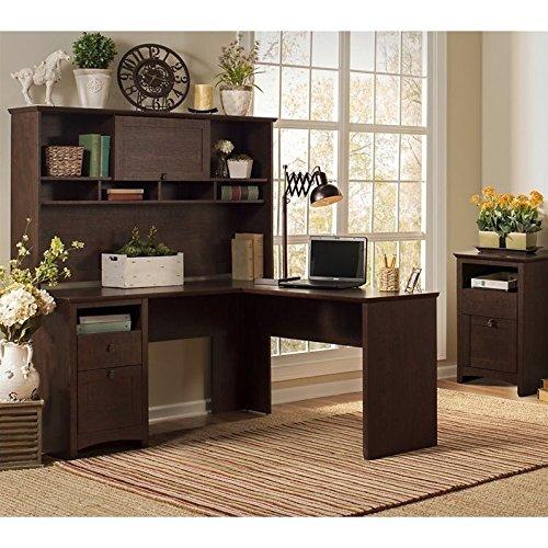 Bush Furniture Buena Vista L Shaped Desk with Hutch and 2 Drawer File (2 Door Modern Hutch)