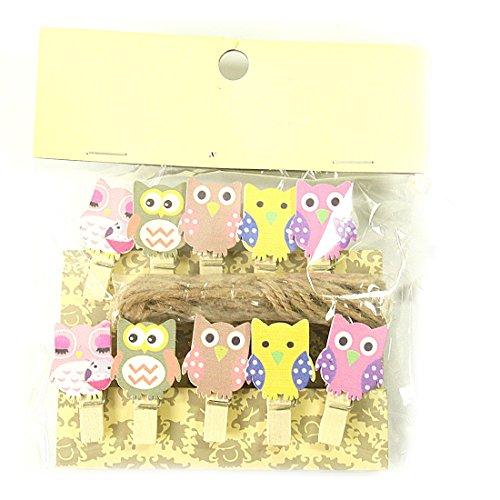 10pcs/sac Mini Hibou en bois papier photo Peg Pin Vêtements Craft carte postale Clips outils