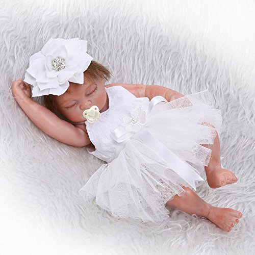 Pinky 10 inches 26cm Mini Baby Silicone Full Body Reborn Baby Doll Realistic Looking Newborn Dolls Cute Bebe Doll White Dress Xmas Birthday Gift (Reborn Baby Mini Dolls)