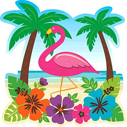 Hawaiian Summer Luau Party Tropical Flamingo Cutout Wall Decoration, Paper, - Flamingo Out Cut