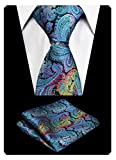 Alizeal Christmas Tie Set Paisley Silk Neckties with Woven Hanky Set(Peacock)