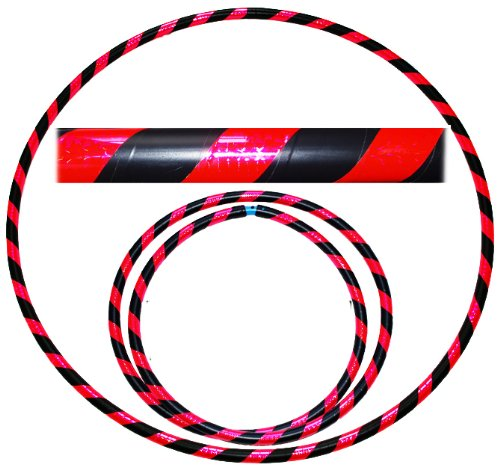 Pro Hula Hoops: Travel Weighted Hula Hoop - Hula Hoops For Exercise, Dance & Fitness! (39'-660g) NO Instructions Needed! (Black/UV Pink)
