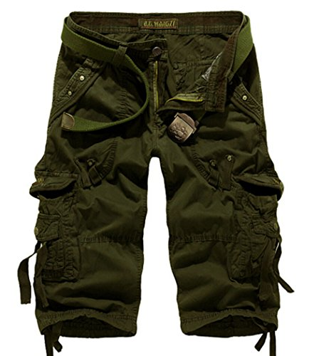 Men's Relaxed Fit Long Cargo Shorts Capri Pants Army Green Tag 36