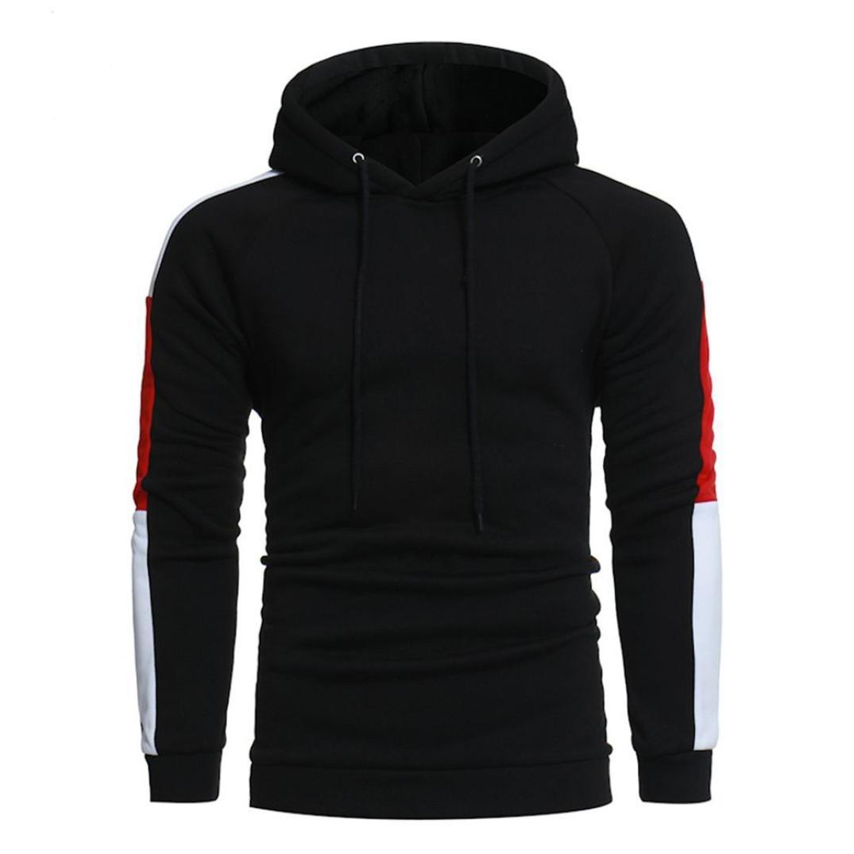 Males Hoodies, WM & MW Men's Long Sleeve Patchwork Drawstring Hooded Jumper Sweatshirt Pullover Tops Jacket (3XL=(US:2XL), Black)