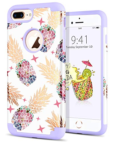 BENTOBEN Phone Case for iPhone 8 Plus, Case for iPhone 7 Plus, Slim Hybrid Hard PC Cover Silicone Rubber Bumper Colorful Pineapple Pattern Shockproof Protective Case for iPhone 7/8 Plus, White/Purple
