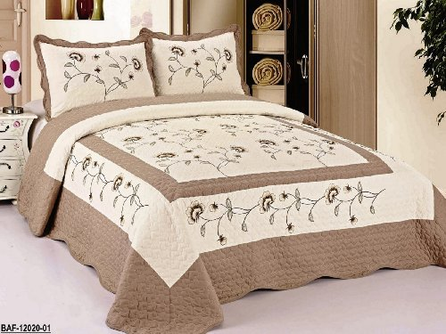 3pcs High Quality Fully Quilted Embroidery Quilts Bedspread Bed Coverlets Cover Set , Queen King (Beige/Taupe) (Bedspreads Quilts And)