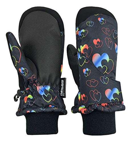 N'Ice Caps Kids and Baby Easy-On Wrap Waterproof Thinsulate Winter Snow Mitten (Black Hearts, 2-3 Years)