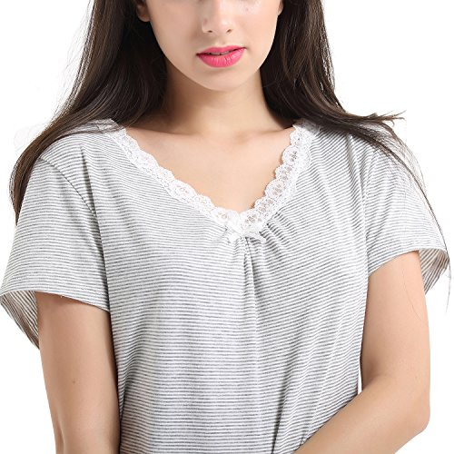 Vokul® donna Soft & Nigthwear Nightgrown comoda camicia da notte-pigiama A-grey medium