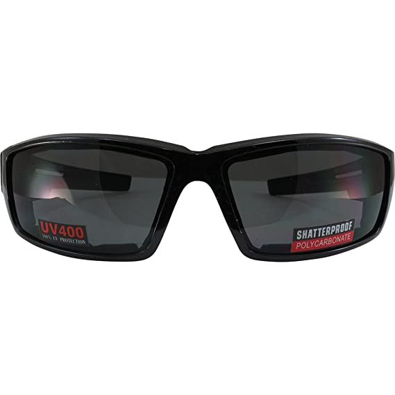 8bbd1eee06db3 Amazon.com  Smoke Foam Padded Motorcycle Sunglasses Shatterproof  Polycarbonate Lenses  Automotive
