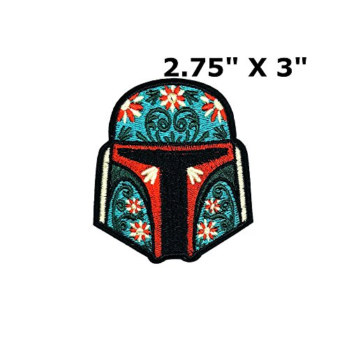 Star Wars Boba Fett Helmet w/Flowers Bounty Hunter Empire Vader Patch Comics Sci-fi New Han Solo Movie Embroidered Sew or Iron-on Badge DIY (Tiger Hunter Costume)