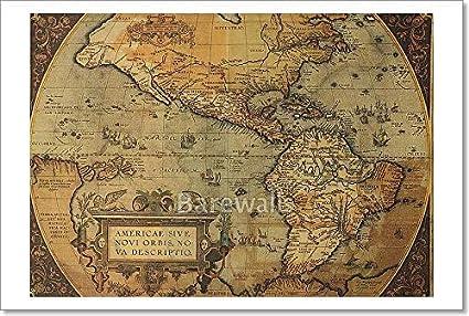 Amazon.com: Barewalls Ancient Map America Paper Print Wall Art (12in ...