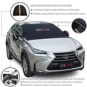 "Windshield Snow Cover , ZACAR Windshield Cover for Ice and Snow with Mirror Snow Covers, Elastic Hooks Design Will Not Scratch Paint , Fits Most Car with 85""x 49"" , Suitable for All Seasons"
