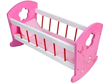 Puppenetagenbett Weiß : Iso trade puppenbett wiege holz weiß rosa kissen decke spielzeug