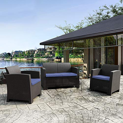 Winsday 3 Pieces Patio Furniture Sets All Weather Outdoor Sectional Sofa Resin Plastic Wicker Pattern Patio Conversation Set with Blue Cushion (3 Pieces Set, Blue)