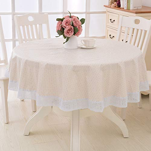 Vinyl Oilcloth Lace Tablecloth Waterproof Plastic Wipeable Spillproof Peva Heavy Duty Stain Resistant PVC Round Tablecloth Flannel Backed for Dining Table Weave Pattern 60 Inch