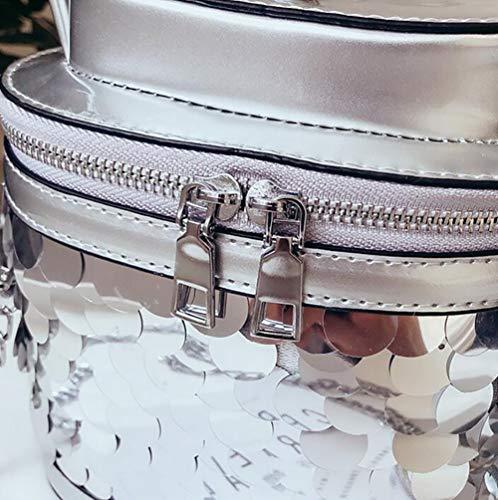 Épaule Embrayage Silver Sac Chaîne Qiulv Fourre Tout Bandoulière Seau Paillette À Mode Tendance Forme Main Femme Sac vwHqHx7faT