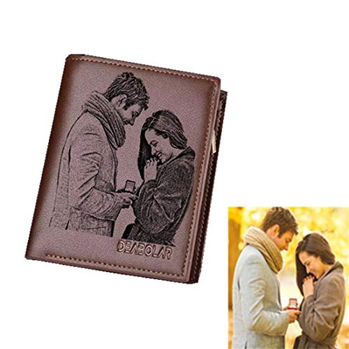 (Personalized Men's Genuine Leather Trifold Custom Photo Wallet With Zipper Pocket Credit Card Holder Coin Purse Short,Brown Double)