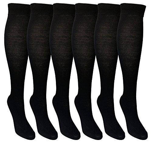 6 Pairs of Mod & Tone Women's Black Knee High Socks, Bamboo Viscose