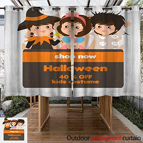 RenteriaDecor Outdoor Curtain for Patio Halloween Theme Shop with Sorceress Costume Kids W63 x L72 -
