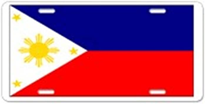 CafePress Vanity Tag Front License Plate Aluminum License Plate Filipino Pilipinas Blank Flag Aluminum License Pla