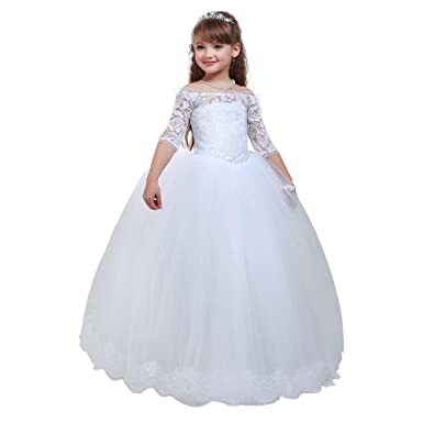 Amazon.com: Lace White Holy Communion Dresses for Girls Kids Pageant ...
