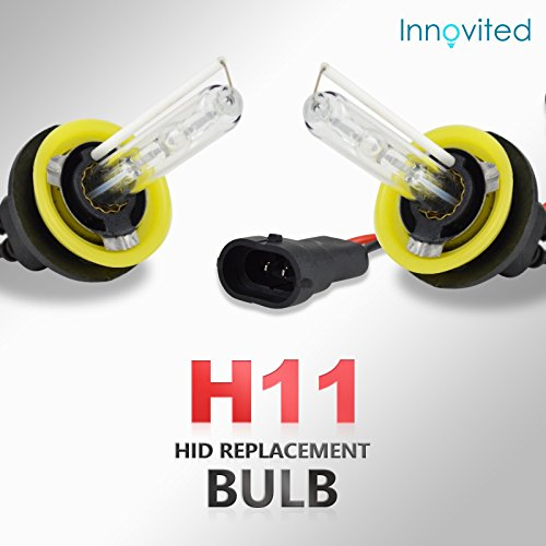 Innovited HID Xenon H11 H9 H8 6000K Replacement Bulbs (1 Pair Diamond White) - 2 Year Warranty ()