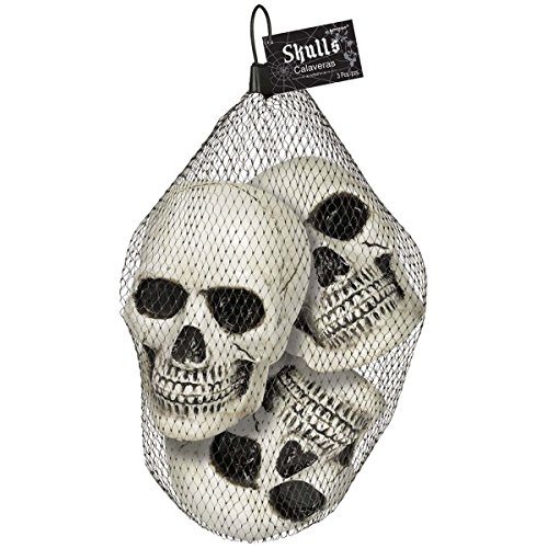 Amscan Haunted Mansion Halloween Party Creepy Skull Decoration (Pack of 3), White, 4 1/2