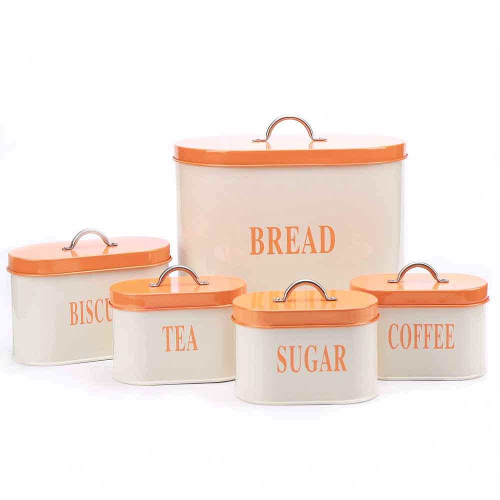 Hot Sale Orange X729 Metal Oval Bread Bin/Box Biscuit Tea Coffee Sugar Canister Set KL