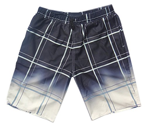 (QZH.DUAO Men's Beach Shorts, Plaid Print Elastic Waist Surf Swim Trunks Boardshorts, 2# Color, Tag XXXL = US L/Waist 36)