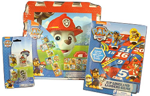Paw Patrol Game Bundle, Hopscotch, Zip Lines and Ladders Game 3 piece dog tag necklace Bundle of 3 items