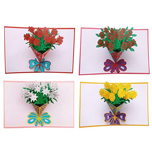 Flower Pop Up Cards 3D Greeting Cards for All Occasions - Elegant Greeting Cards for Holidays - 5.9 x 7.9 inches, Envelope Included - Birthday Gift Cards - Anniversary Bouquets Greeting Cards