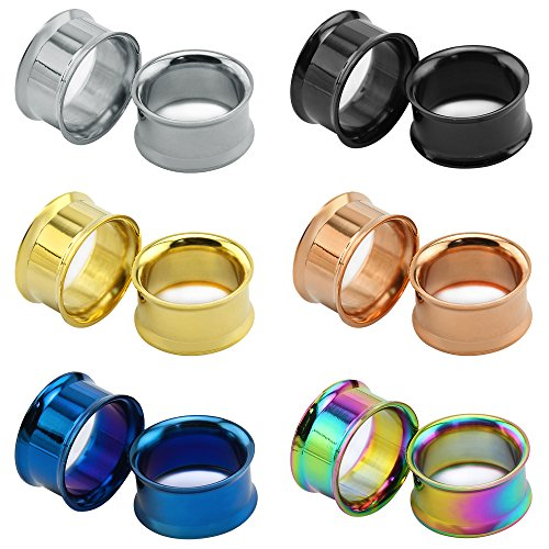 """6Pairs 8g-1"""" Double Flared Saddle Ear Tunnels Stainless SteelPlugs Gauge Ear Stretcher Expander Piercing (Gauge= 7/8""""(22mm)) (Ear Plug Design)"""