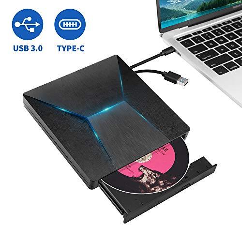 MMUSC External CD DVD Drive,Type C USB 3.0 Slim Portable External CD DVD Drive Burner Optical Drive CD+/-RW DVD +/-RW Superdrive Disc Duplicator Compatible with Mac/MacBook Pro/Air/iMac/Laptop/Windows