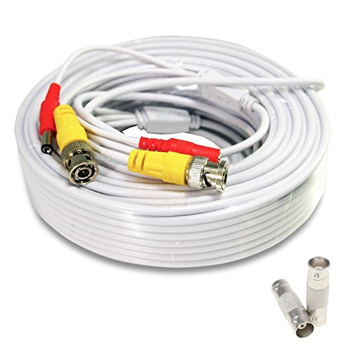 - Lknewtrend 100 Feet Pre-Made All-in-One Siamese BNC Video and Power Cable Wire Cord with Two Female Extension Connectors for CCTV Security Camera & DVR (White)