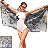 Wanderlust Funny Beach Towel,Colored XVIIIth Century Italy Map by Royal French Geographer Vaugondy Print Multicolor,Pattern Beach Towel W19 x L39